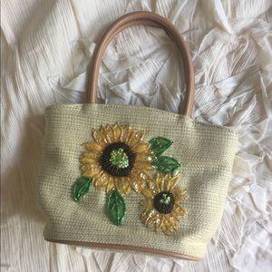 Handbags - Sunflower embroidered bamboo purse